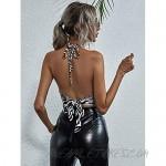 Floerns Women's Zebra Striped Backless Tie Back Halter Vest Crop Tops