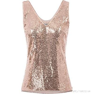 GRACE KARIN Women's Sleeveless Sparkle Sequin Tops V-Neck Cami Sexy Club Tank Top