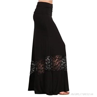 HEYHUN Womens Casual Tie Dye Solid Boho Hippie Long Maxi Skirt w Lace Detail S-3XL