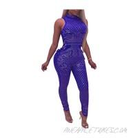 TshineY Women Sexy Rhinestone Sheer Mesh Jumpsuit Sleeveless Halter Neck Backless Bodycon Party Clubwear