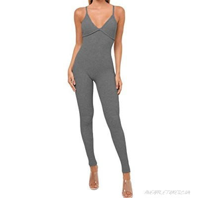 Womens Jumpsuit V Neck Knitted Sexy Bodycon Spaghetti Strap One Piece Backless Bodysuit Fall Winter Jumpsuits