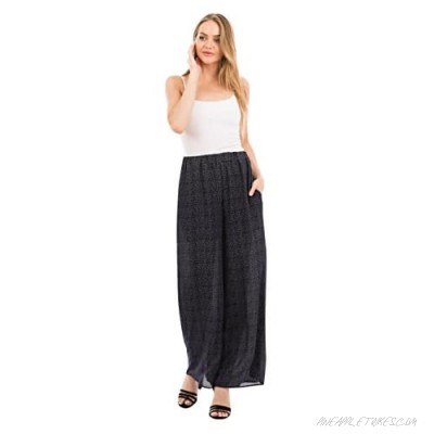 Love In Women's Full Length Elastic Waistband Wide Leg Striped Pants with Pockets