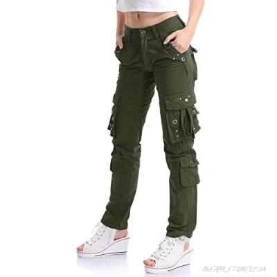 Mesinsefra Women's Casual Straight Military Multi-Pocket Cargo Pant
