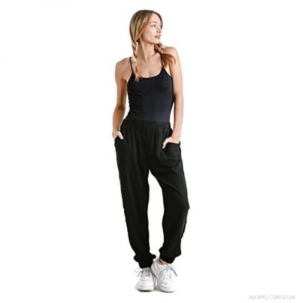 Umgee Women's Linen Blend Elastic Waist Jogger Pants