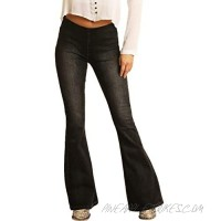 Rock and Roll Cowgirl High-Rise Pull-On Flare in Charcoal Wash W1P6102