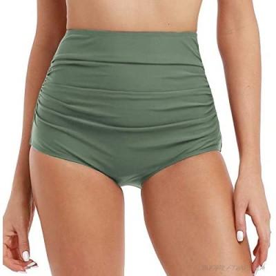 Mycoco Women's High Waisted Bikini Bottom Bathing Suit Brief Shirred Swim Bottom