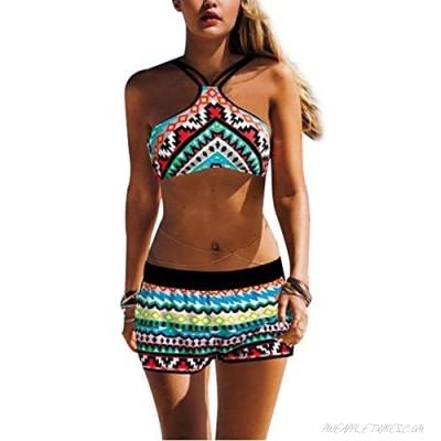 Sumtory Women's Swimwear Strappy Bikini Backless Halter Lace Up Swimsuits