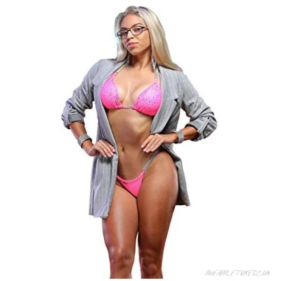 Vicky Ross Fit Competition Bikini Suit NPC IFBB WBFF for Women with Rhinestone Connectors   Brazilian Scrunch  Pink