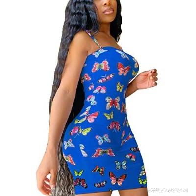 Bodycon Butterfly Dresses for Women Sexy Spaghetti Strap Mini Dress Slim Cami Dress Y2K E-Girls Streetwear