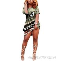 Remelon Womens Casual T-Shirt Dress Tie-Dye Short Sleeve Off Shoulder Loose Dresses Summer Tunic Dress