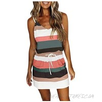 Women's Fashion Summer Casual V-Neck Short Sleeve Dresses Strap Open Back Sexy Print Tie Waist Mini Dress with Pockets