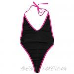 ACSUSS Women's Sling Shot Micro Bikini Halter Thong Monokini One Piece Swimsuits