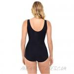 Penbrooke Plus Size Women's Swimwear Nature's Mix Shirred Insert Girl Leg Tummy Control Soft Cup One Piece Swimsuit