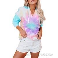 CANIKAT Women's Lightweight Tie Dye Print Hoodie Sweatshirts Casual Long Sleeve Pullover Hooded Tops