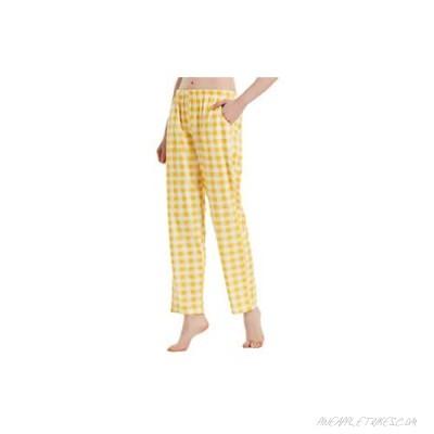 ALLAXDO Womens Pajama Pants Cotton Sleep Pants with Pockets Wide Leg Lounge Pants Comfy & Casual