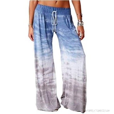 Aoysky Women's Comfy Casual Pajama Pants Tie-dye Gradient Drawstring Palazzo Lounge Wide Leg Pants