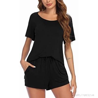 Ekouaer Pajama Set Women's Short Sleeve Sleepwear Scoopneck Sleepshirts and Pj Shorts Sets Loungewear Nightwear S-XXL