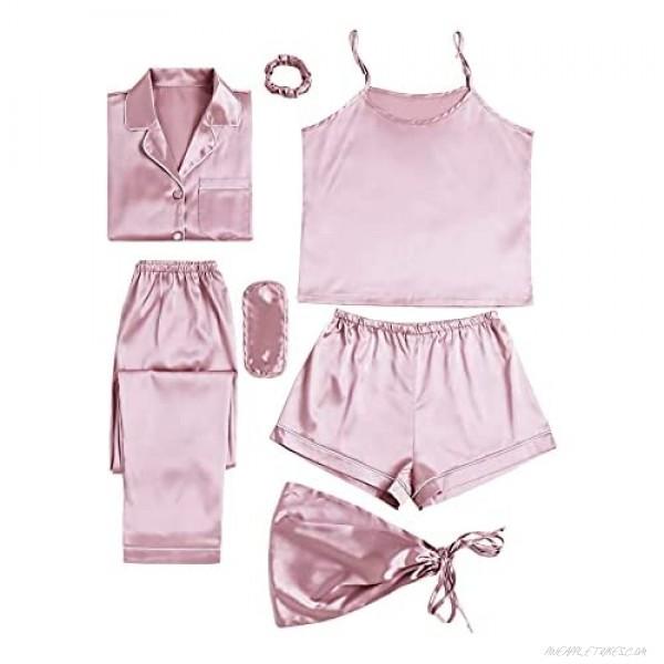LYANER Women's Pajamas Set 7pcs Silk Satin Sleepwear Loungewear Cami Shirt Pj Set
