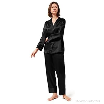 Mommesilk Silk Pajamas for Women Long Sleeve Washable 100% Real Mulberry Silk Pj Sets Sleep Summer Nightwear