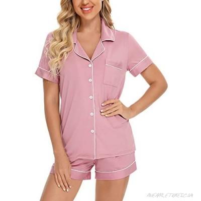 Samring Women's Button Down Pajama Set V-Neck Short Sleeve Sleepwear Soft Pj Sets S-XXL