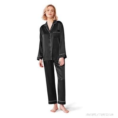 SIORO Women Pajamas Set Satin Long Sleeve Silk Pajamas for Womens Button Down Nightwear Soft Pj Sets Small~X-Large