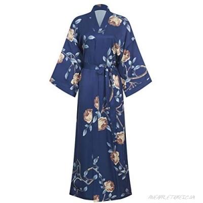 AMJM Women's stain Kimono Robes Long Print Flower ladise Bathrobe Nightgown