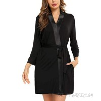 ARANEE Women's Cotton Kimono Robes Comfy Bathrobe Soft Sleepwear Lightweight Short Robe Ladies Loungewear
