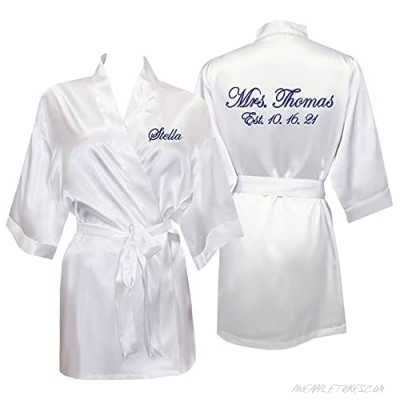 Classy Bride's Personalized Mrs. Bridal Robe – Satin Robe for Women & Bridesmaid Robes - Wedding & Bridal Party Robes