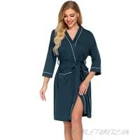 Ekouaer Womens Robe Short Cotton Kimono Bathrobe Knee Length Lightweight Loungewear Half Sleeve Dressing Gown S-XXL