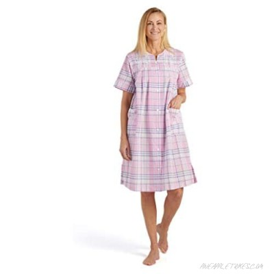 Miss Elaine Women's Seersucker Short Snap Robe - with Short Sleeves Two Front Pockets and Embroidery on The Front Yoke