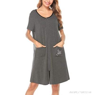 SWOMOG Women's Zip Up Housecoat Short Sleeve Robe Modal Nightgown Sleepwear with Pockets