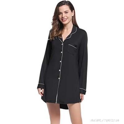Amorbella Womens Long Sleeve Nightgown Button Down Nightshirt Bamboo Sleep Shirt Soft Pajama Top