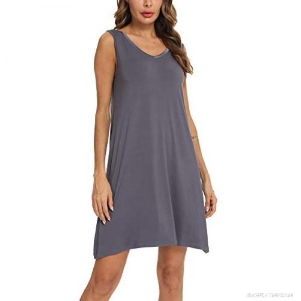 AQF Women's Pajamas Sleeveless Nightgowns Lightweight Sleepwear Plus Size Sleep Dress V Neck Sleepshirt S-4XL