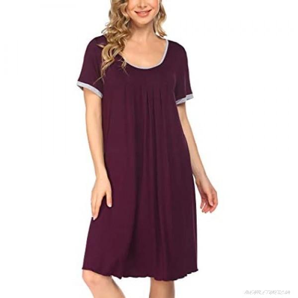 Coshow Womens Nightgowns Soft Sleep Shirt Short Sleeve Sleepwear Comfy Night Shirt Pleated Scoop Neck Sleep Dress S-XXXL