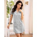 Ekouaer Women's Sleepshirt Short Sleeve Striped Nightgown Boyfriend Button Down Lapel Collar Pajamas
