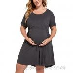 IN'VOLAND Women's Plus Size Maternity Nightgown Short Sleeve Sleepwear Maternity Nursing Nightgown (16W-24W)