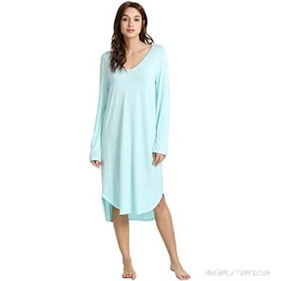 WiWi Bamboo Nightgowns for Women Soft Long Sleeve Sleep Shirt Sleepwear Comfy Loungewear Plus Size Nightshirts S-4X