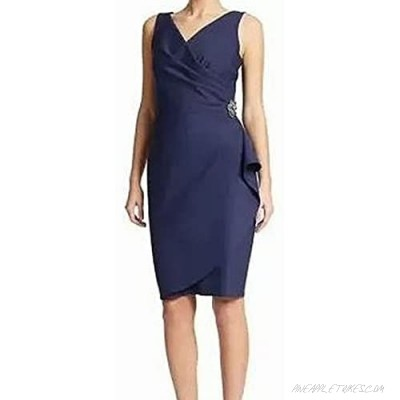 Alex Evenings Women's Slimming Short Ruched Dress with Ruffle(Petite and Regular)