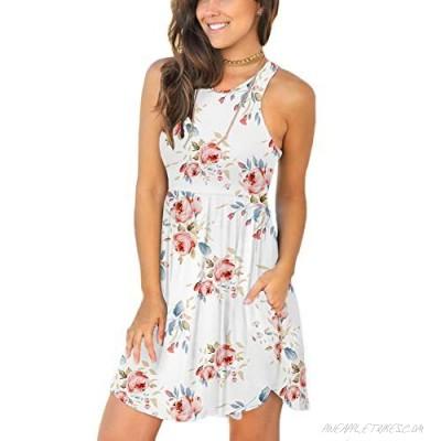 LONGYUAN Women's Summer Sleeveless Casual Dresses Swing Cover Up Elastic Sundress with Pockets