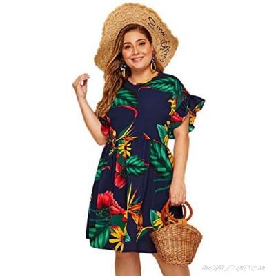 Milumia Women's Plus Size Tropical Leaf Print Ruffle Sleeve Pleated Short Dress