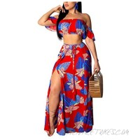 Womens 2 Piece Outfits Summer Floral Beach Crop and Side Slit Skirt