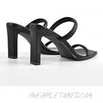Richealnana Women's Square Toe Slip On Straps Mule Sandals