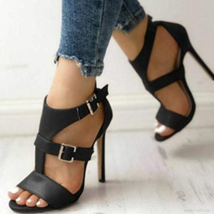 Women Stiletto Pumps Peep Round Toe Thin Heel Sandals Dressy Buckle Strap High Heeled Shoes Sale