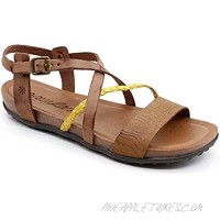 Womans flat leather sandals cross strap rubber sole casual brown
