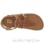 Yoki Women's Comfort Flat Sandal Brown 6