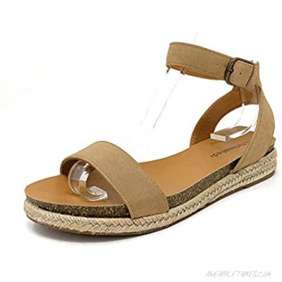 City Classified Tacomas Jute Crochet Flatform Wedge Heel with Ankle Buckle Straps Natural 8