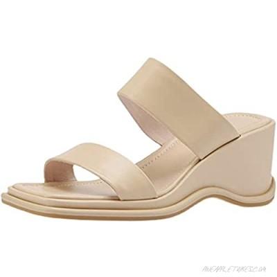 Erocalli Platform Wedges Sandals for Women Double Strap Slip on Slide Sandals for Women