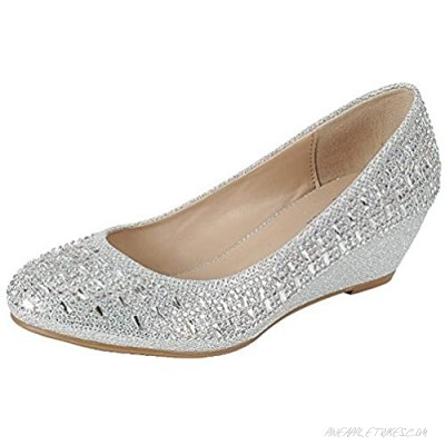 Forever Womens Low Wedge Heel Closed Toe Wedding Party Dress Sandals Shoes Silver 7.5
