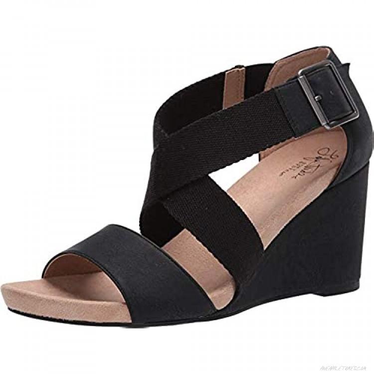 LifeStride womens Hayden Ankle Straps Sandal Black 6 Wide US