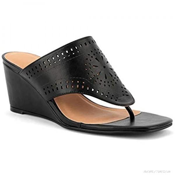 MaxMuxun Women's Cutout Slip on Square Toe Flip Flop Wedge Sandals